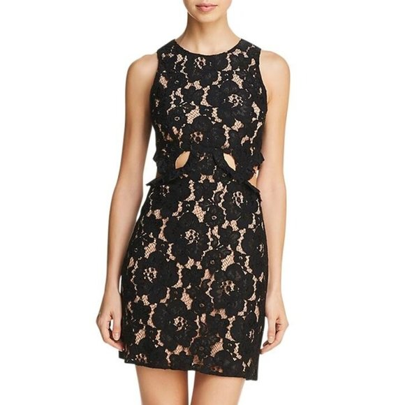 Wayf Dresses & Skirts - WAYF Lace Overlay Cutout Party Dress